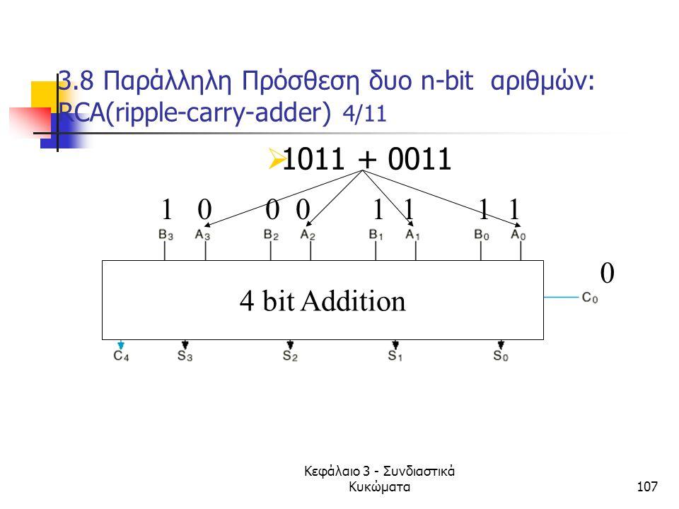 3.8 Παράλληλη Πρόσθεση δυο n-bit αριθμών: RCA(ripple-carry-adder) 4/11