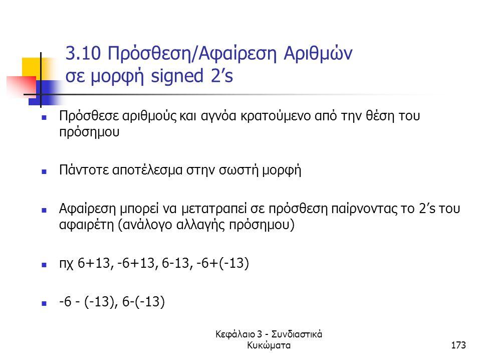 3.10 Πρόσθεση/Αφαίρεση Αριθμών σε μορφή signed 2's