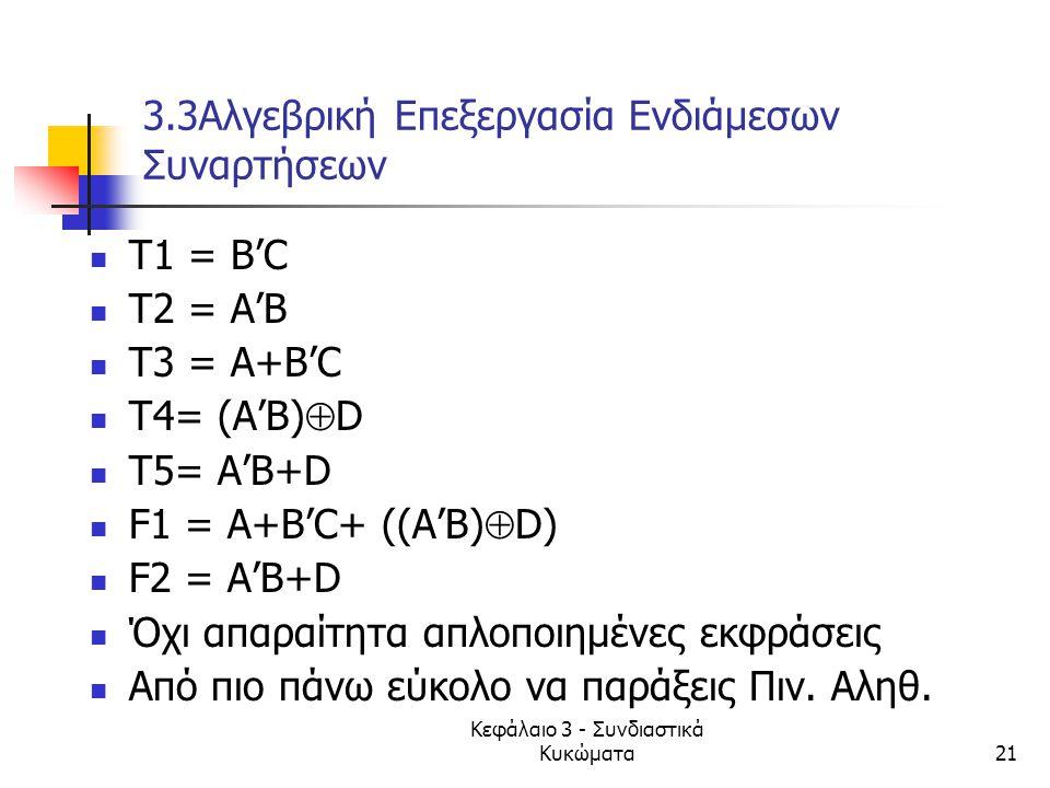 3.3Αλγεβρική Επεξεργασία Ενδιάμεσων Συναρτήσεων