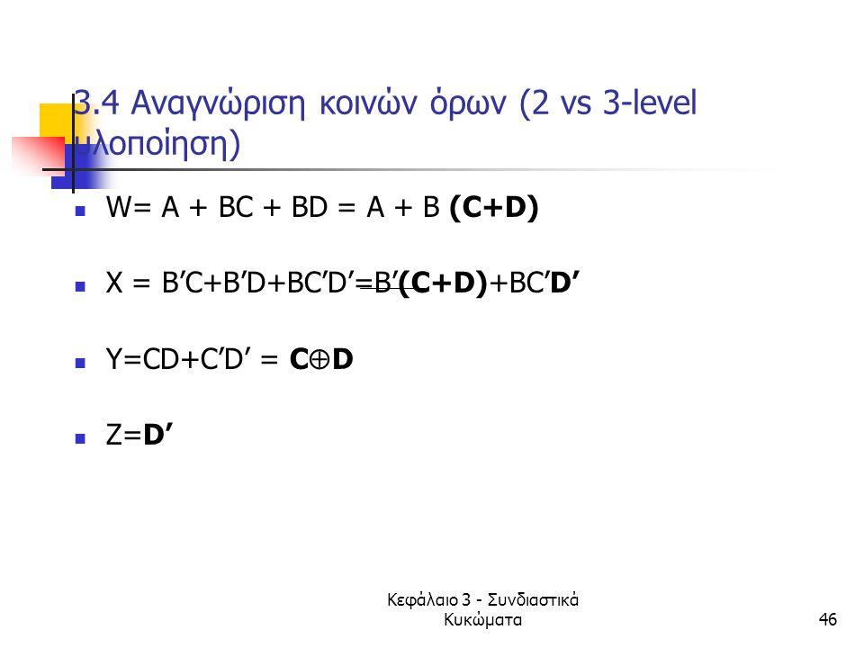 3.4 Αναγνώριση κοινών όρων (2 vs 3-level υλοποίηση)