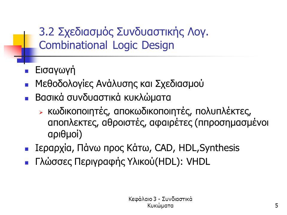 3.2 Σχεδιασμός Συνδυαστικής Λογ. Combinational Logic Design