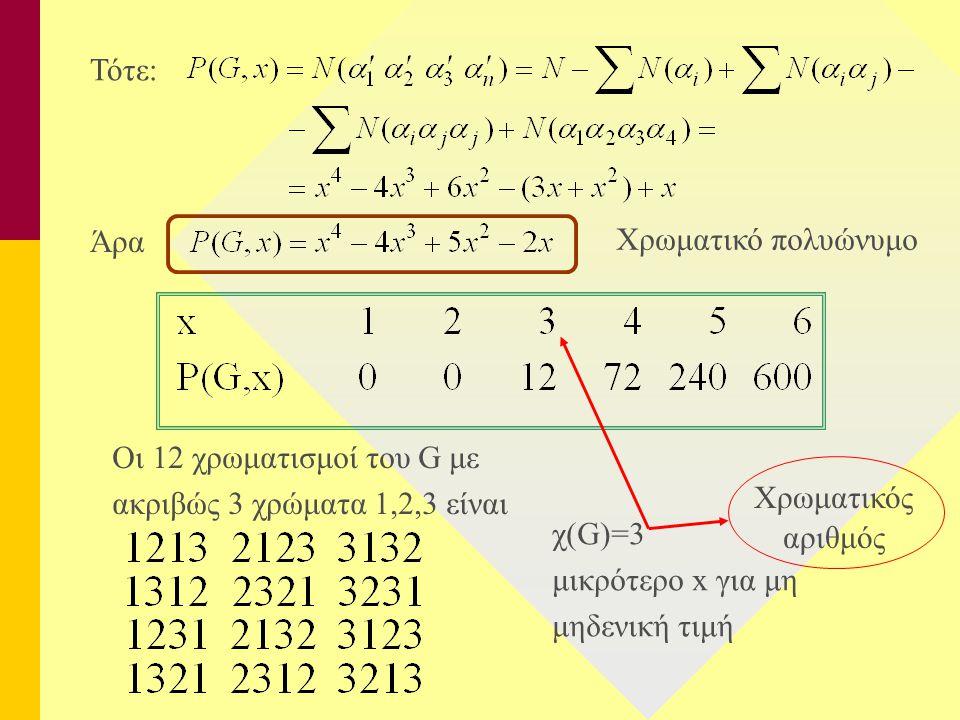 Τότε: Άρα. Χρωματικό πολυώνυμο. χ(G)=3. μικρότερο x για μη. μηδενική τιμή. Χρωματικός. αριθμός.