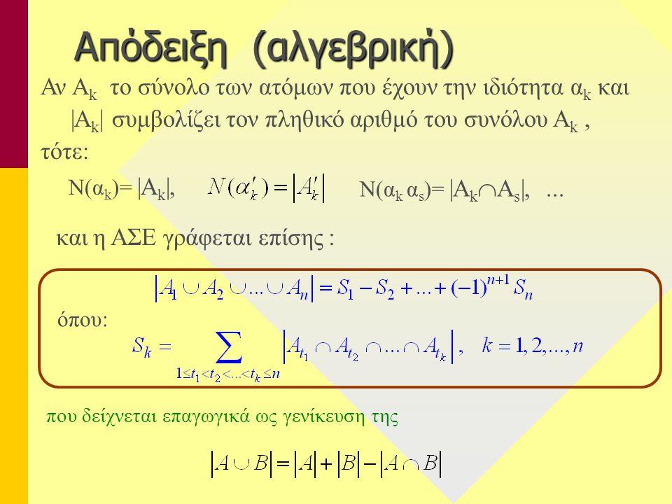 Απόδειξη (αλγεβρική) Αν Ak το σύνολο των ατόμων που έχουν την ιδιότητα αk και. |Ak| συμβολίζει τον πληθικό αριθμό του συνόλου Ak ,