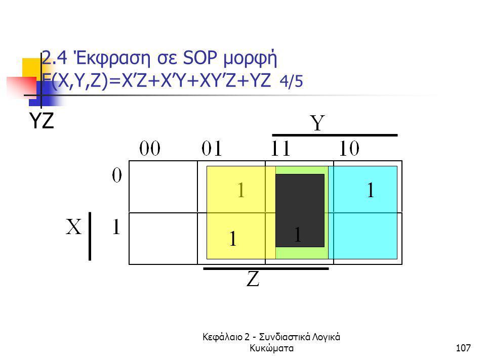 2.4 Έκφραση σε SOP μορφή F(Χ,Υ,Ζ)=X'Z+X'Y+XY'Z+YZ 4/5