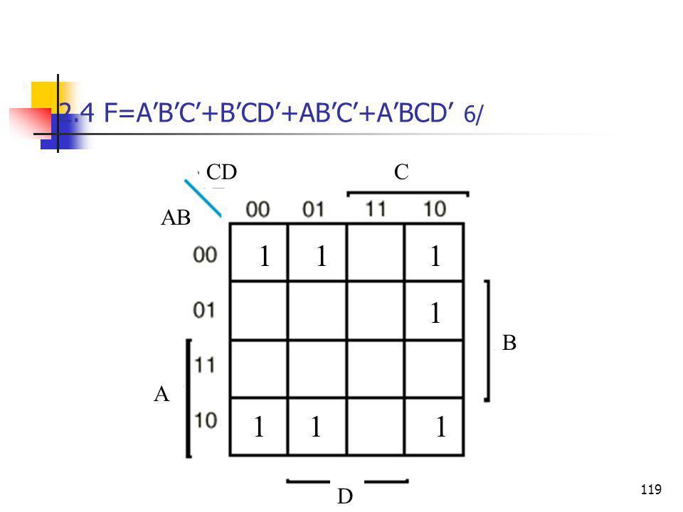 2.4 F=A'B'C'+B'CD'+AB'C'+A'BCD' 6/