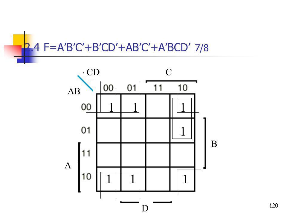 2.4 F=A'B'C'+B'CD'+AB'C'+A'BCD' 7/8
