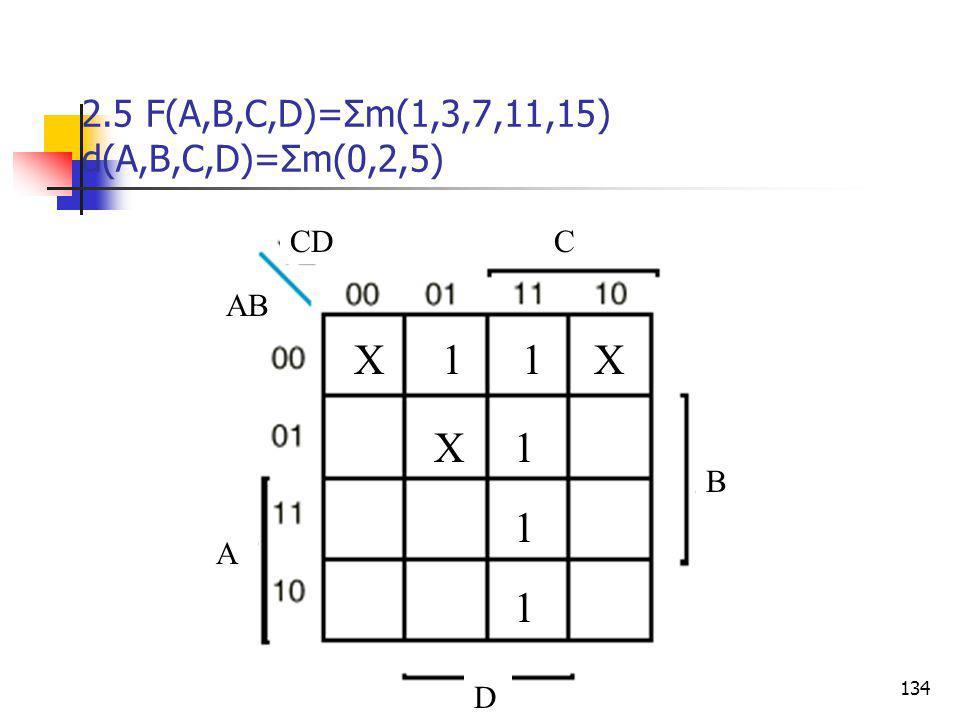 2.5 F(A,B,C,D)=Σm(1,3,7,11,15) d(A,B,C,D)=Σm(0,2,5)