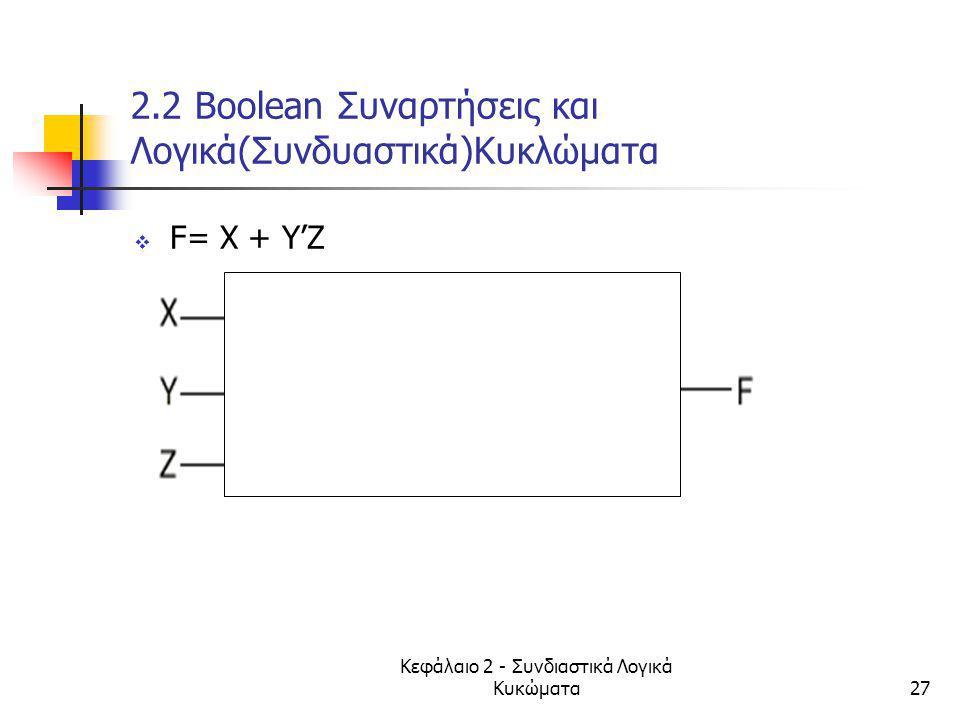 2.2 Βοοlean Συναρτήσεις και Λογικά(Συνδυαστικά)Κυκλώματα