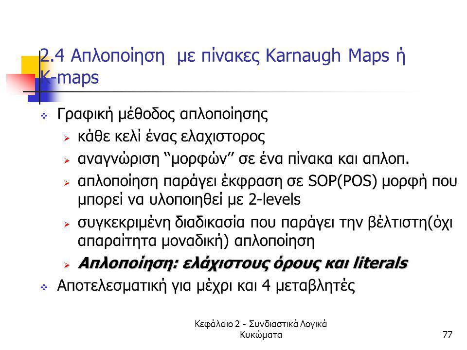 2.4 Απλοποίηση με πίνακες Κarnaugh Maps ή K-maps