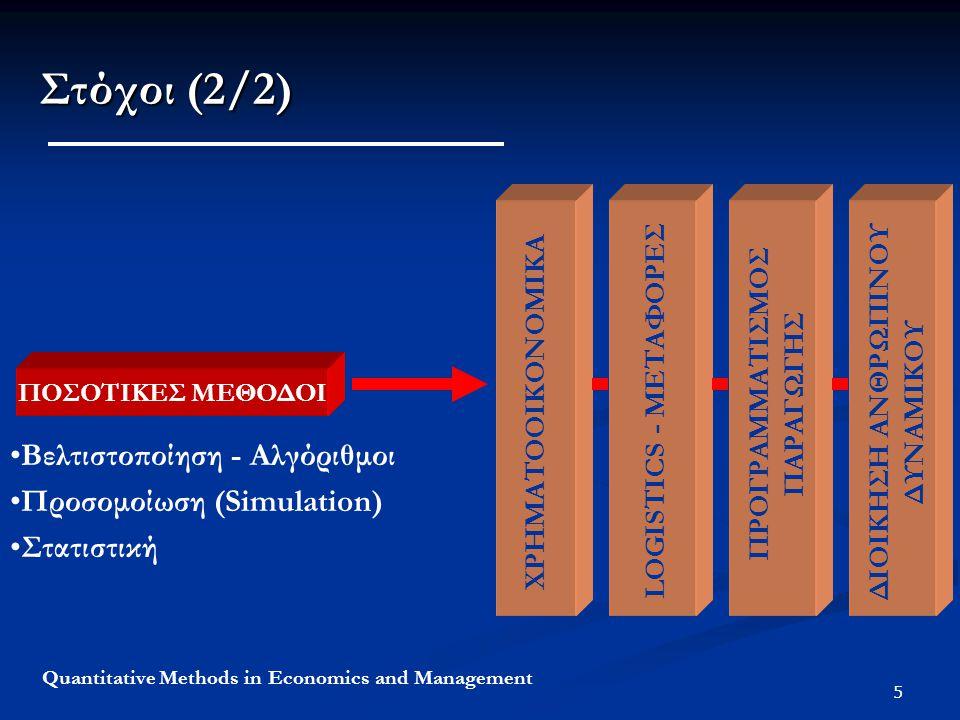 Στόχοι (2/2) Βελτιστοποίηση - Αλγόριθμοι Προσομοίωση (Simulation)