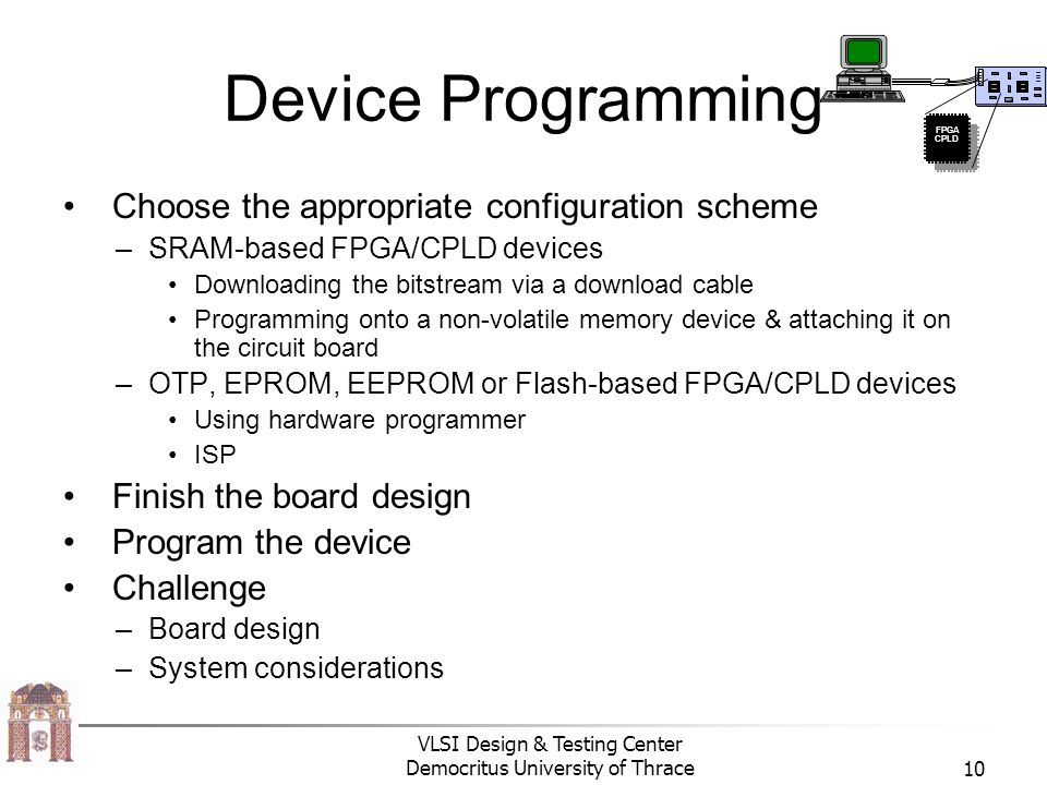Device Programming Choose the appropriate configuration scheme