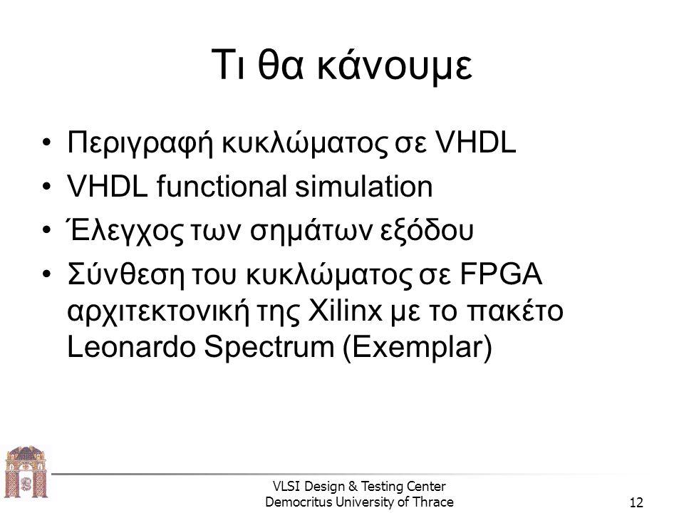 Τι θα κάνουμε Περιγραφή κυκλώματος σε VHDL VHDL functional simulation