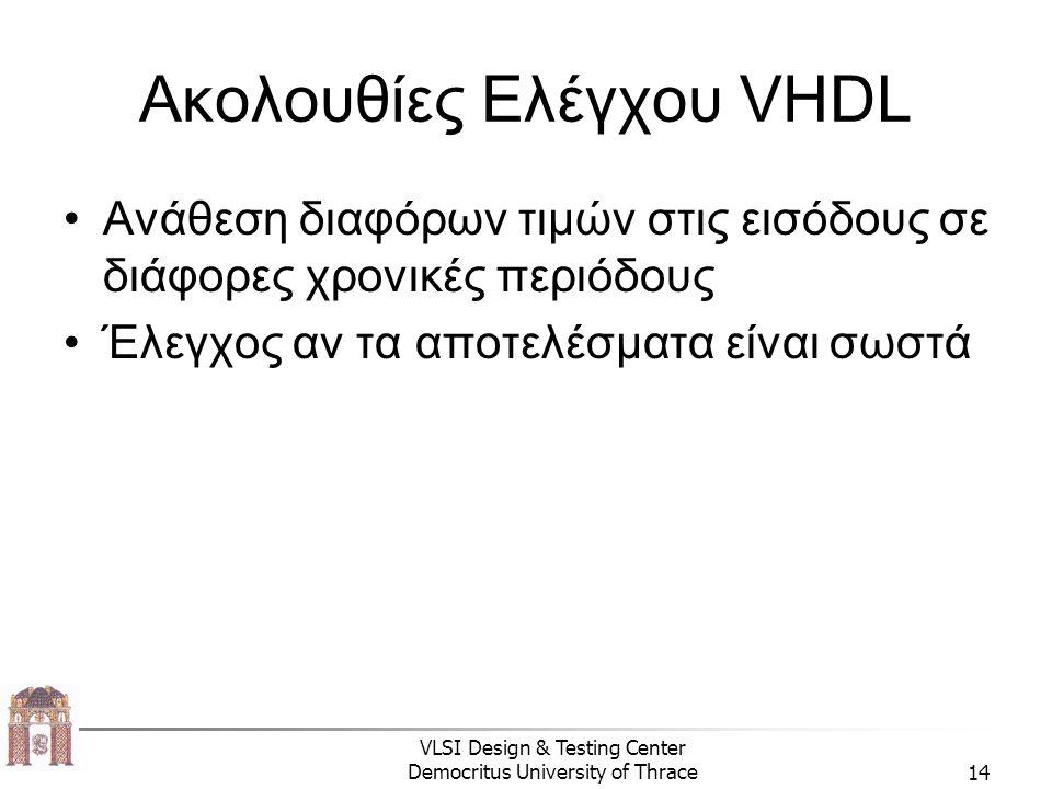 Ακολουθίες Ελέγχου VHDL