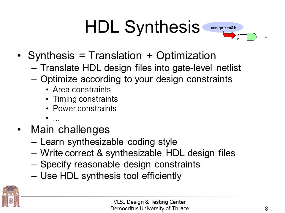 HDL Synthesis Synthesis = Translation + Optimization Main challenges