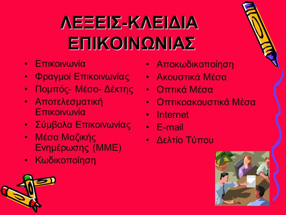ΛΕΞΕΙΣ-ΚΛΕΙΔΙΑ ΕΠΙΚΟΙΝΩΝΙΑΣ