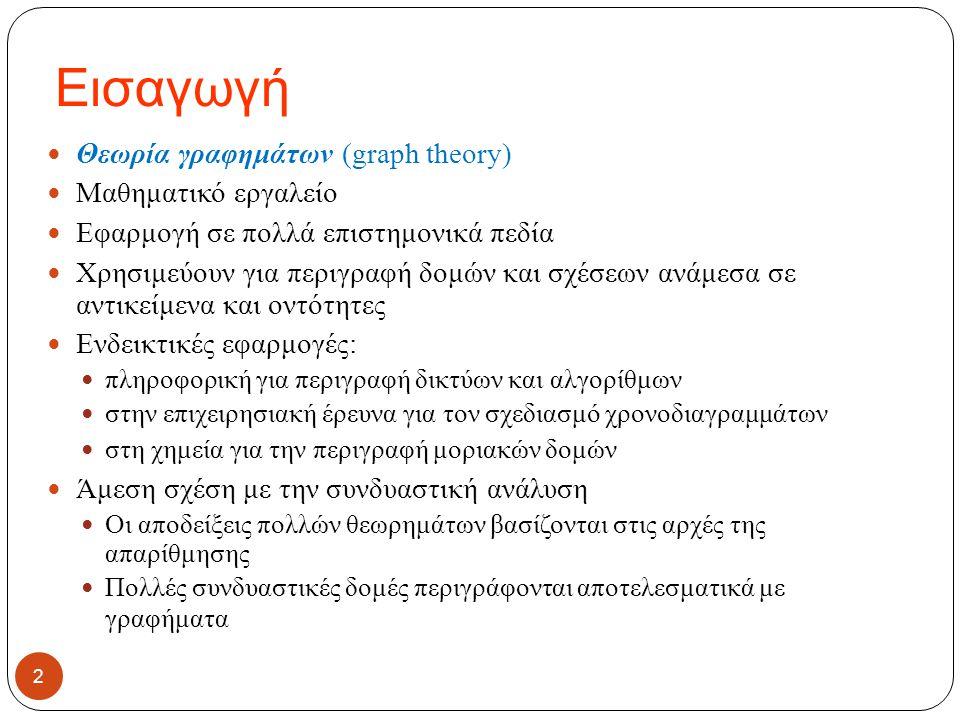 Εισαγωγή Θεωρία γραφημάτων (graph theory) Μαθηματικό εργαλείο