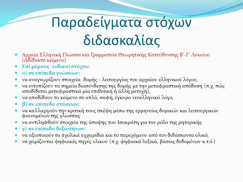 Παραδείγματα στόχων διδασκαλίας