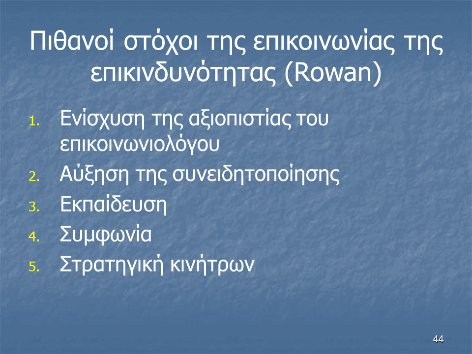 Πιθανοί στόχοι της επικοινωνίας της επικινδυνότητας (Rowan)