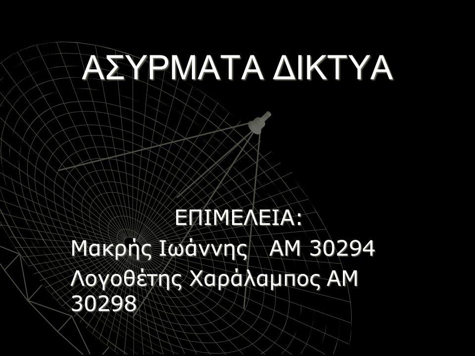 ΕΠΙΜΕΛΕΙΑ: Μακρής Ιωάννης ΑΜ 30294 Λογοθέτης Χαράλαμπος ΑΜ 30298