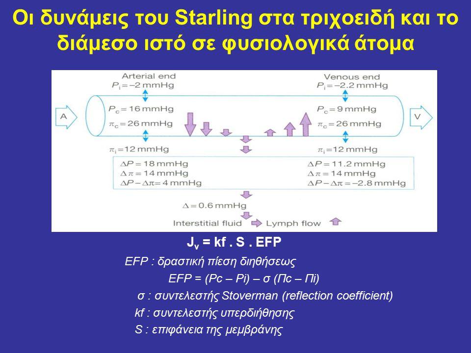 Οι δυνάμεις του Starling στα τριχοειδή και το διάμεσο ιστό σε φυσιολογικά άτομα