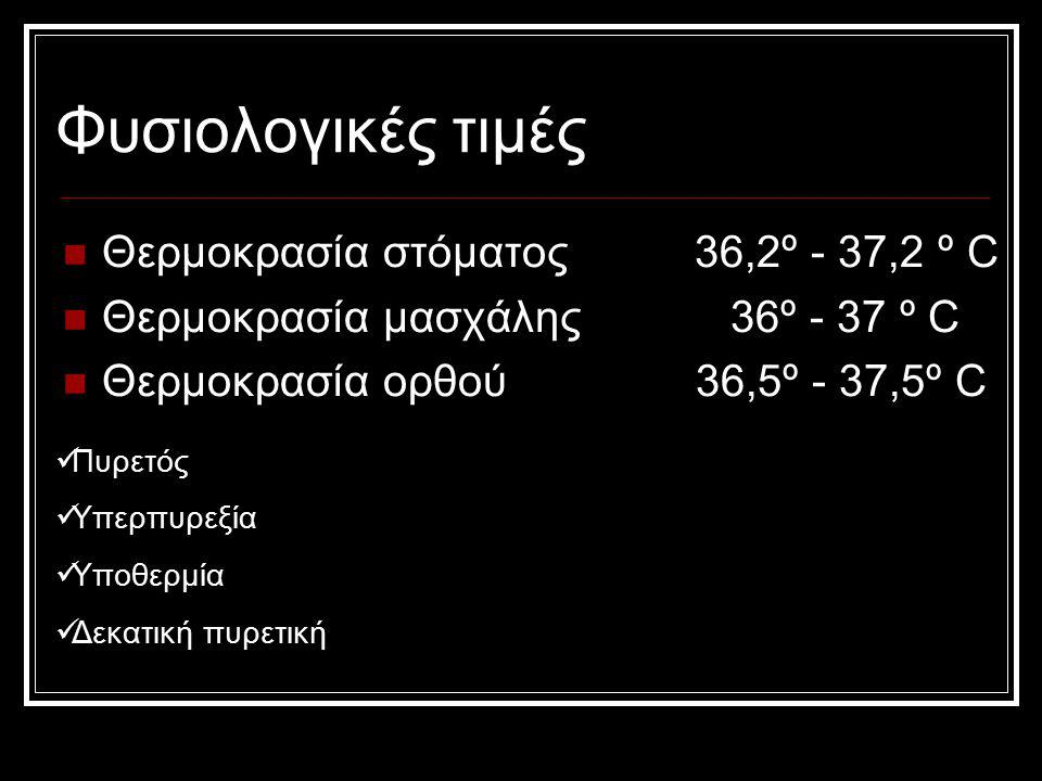 Φυσιολογικές τιμές Θερμοκρασία στόματος 36,2º - 37,2 º C