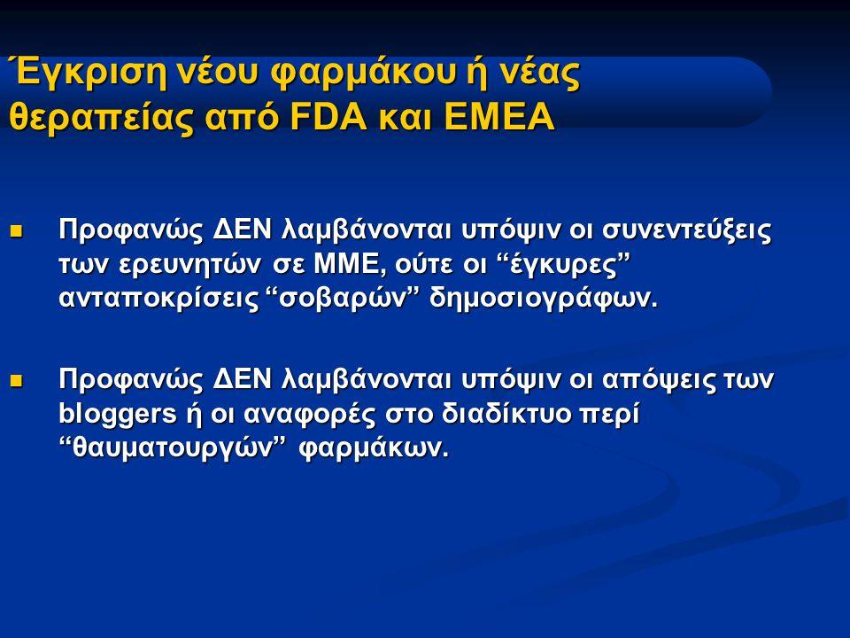 Έγκριση νέου φαρμάκου ή νέας θεραπείας από FDA και ΕΜΕΑ