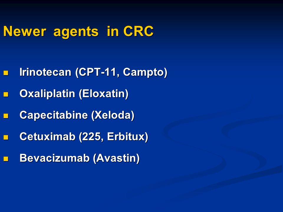 Newer agents in CRC Irinotecan (CPT-11, Campto) Oxaliplatin (Eloxatin)