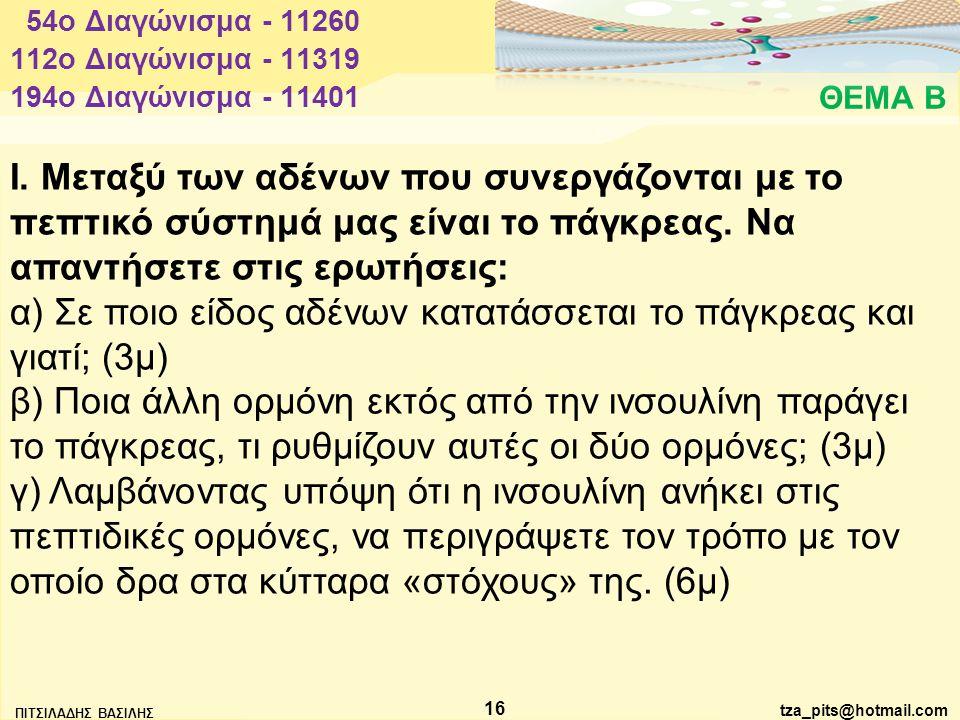 α) Σε ποιο είδος αδένων κατατάσσεται το πάγκρεας και γιατί; (3μ)