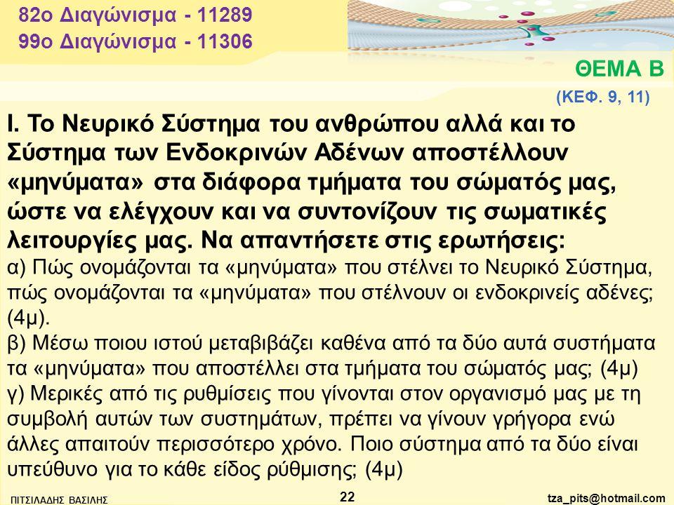 82o Διαγώνισμα - 11289 99o Διαγώνισμα - 11306. ΘΕΜΑ Β. (ΚΕΦ. 9, 11)
