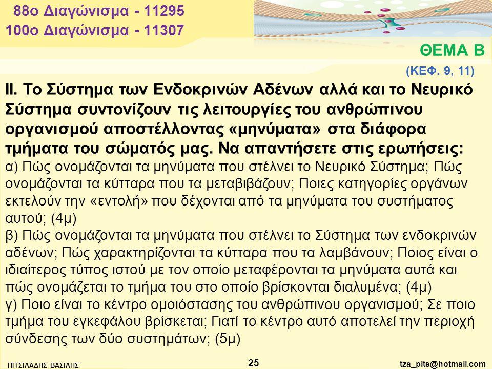 88o Διαγώνισμα - 11295 100o Διαγώνισμα - 11307. ΘΕΜΑ Β. (ΚΕΦ. 9, 11)
