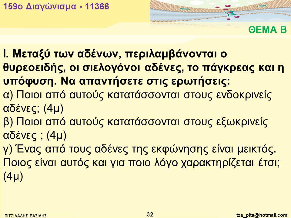 α) Ποιοι από αυτούς κατατάσσονται στους ενδοκρινείς αδένες; (4μ)