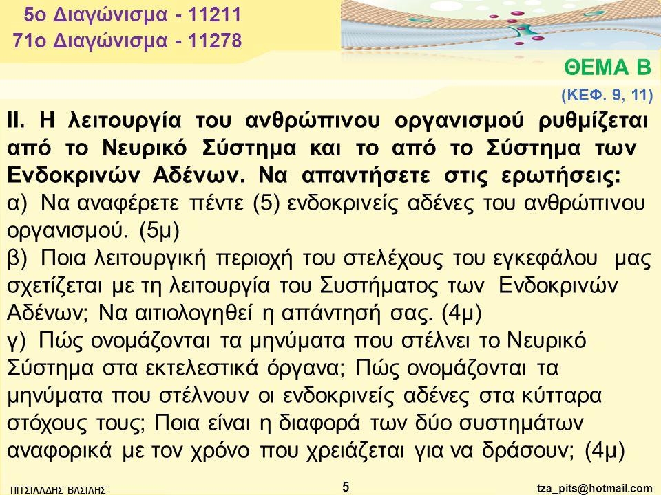 5o Διαγώνισμα - 11211 71o Διαγώνισμα - 11278. ΘΕΜΑ Β. (ΚΕΦ. 9, 11)