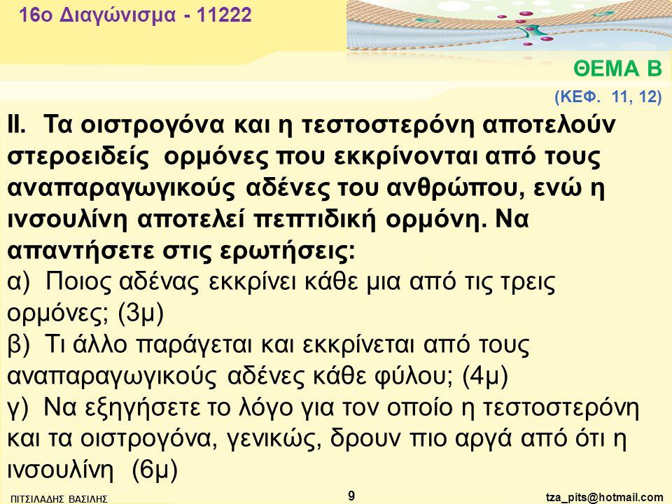 α) Ποιος αδένας εκκρίνει κάθε μια από τις τρεις ορμόνες; (3μ)