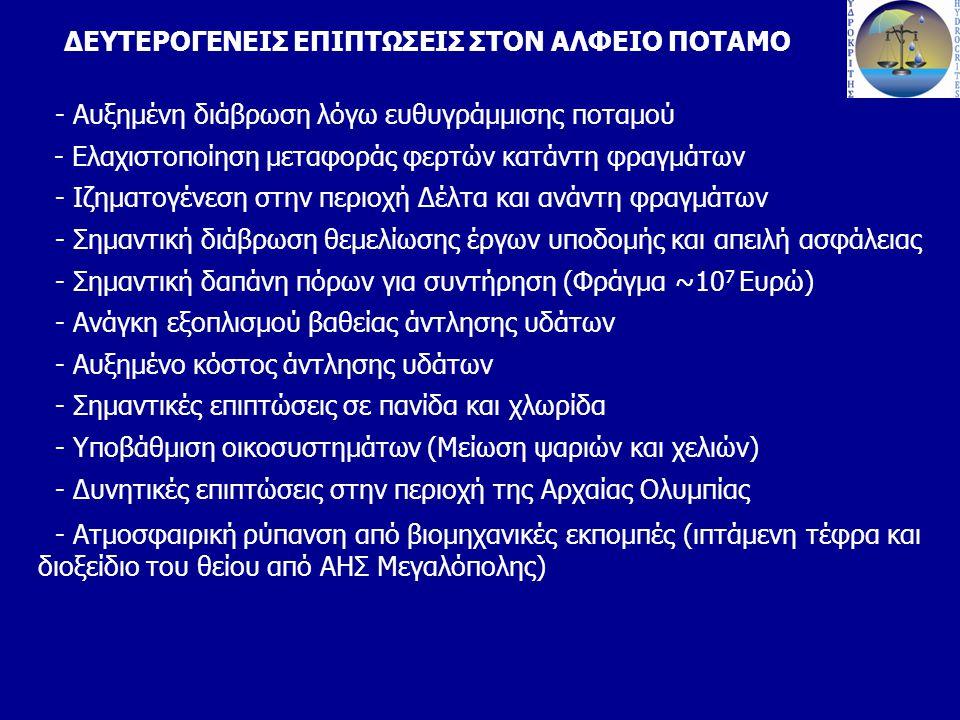 ΔΕΥΤΕΡΟΓΕΝΕΙΣ ΕΠΙΠΤΩΣΕΙΣ ΣΤΟΝ ΑΛΦΕΙΟ ΠΟΤΑΜΟ