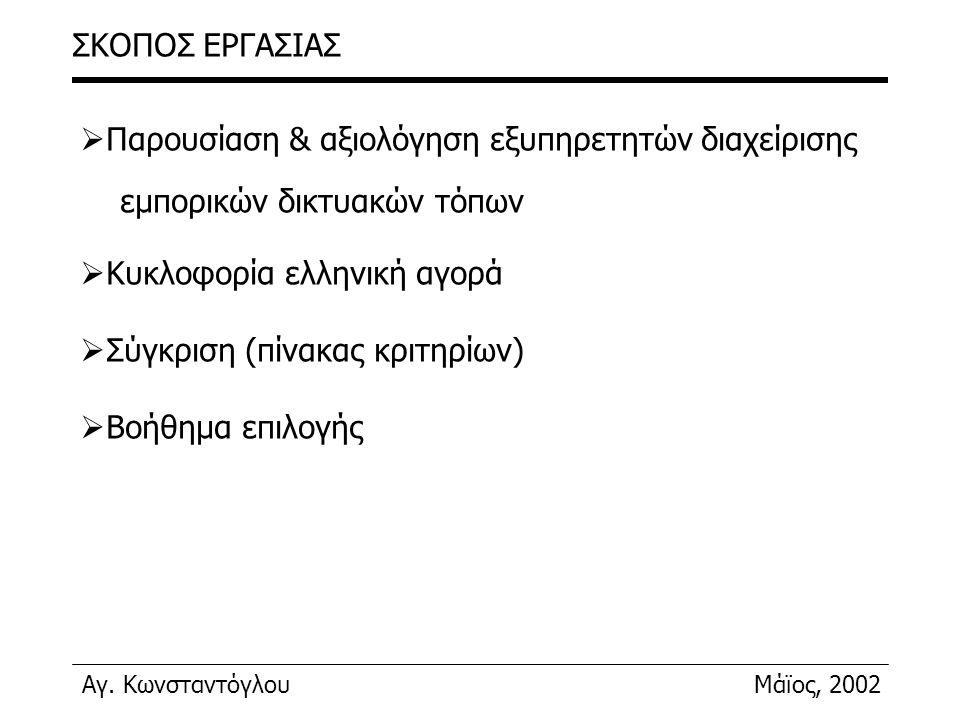 ΣΚΟΠΟΣ ΕΡΓΑΣΙΑΣ Παρουσίαση & αξιολόγηση εξυπηρετητών διαχείρισης. εμπορικών δικτυακών τόπων. Κυκλοφορία ελληνική αγορά.