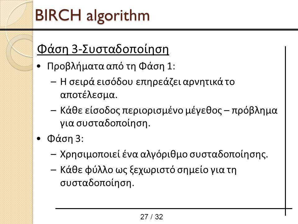 BIRCH algorithm Φάση 3-Συσταδοποίηση Προβλήματα από τη Φάση 1: