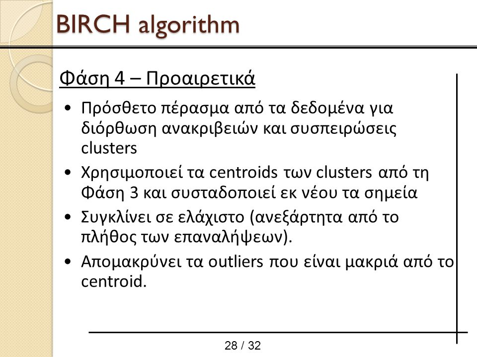 BIRCH algorithm Φάση 4 – Προαιρετικά