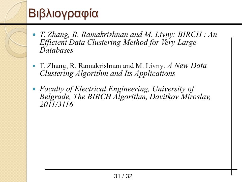 Βιβλιογραφία T. Zhang, R. Ramakrishnan and M. Livny: BIRCH : An Efficient Data Clustering Method for Very Large Databases.