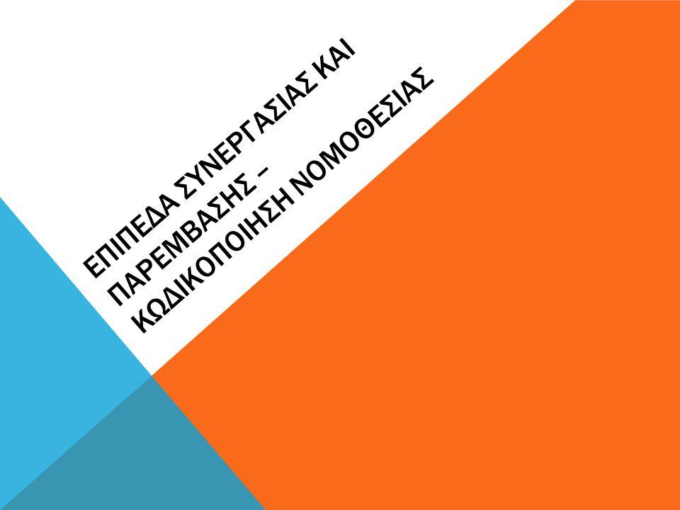 Επιπεδα ςυνεργαςιας και παρεμβαςης – κωδικοποιηςη νομοθεςιας
