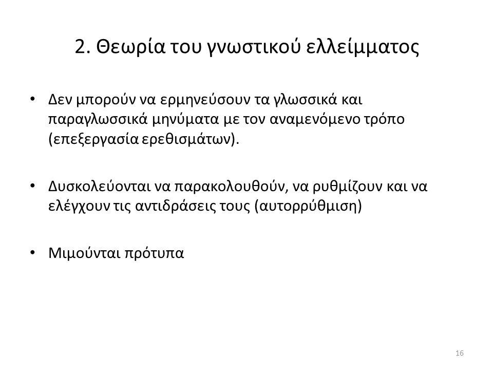 2. Θεωρία του γνωστικού ελλείμματος