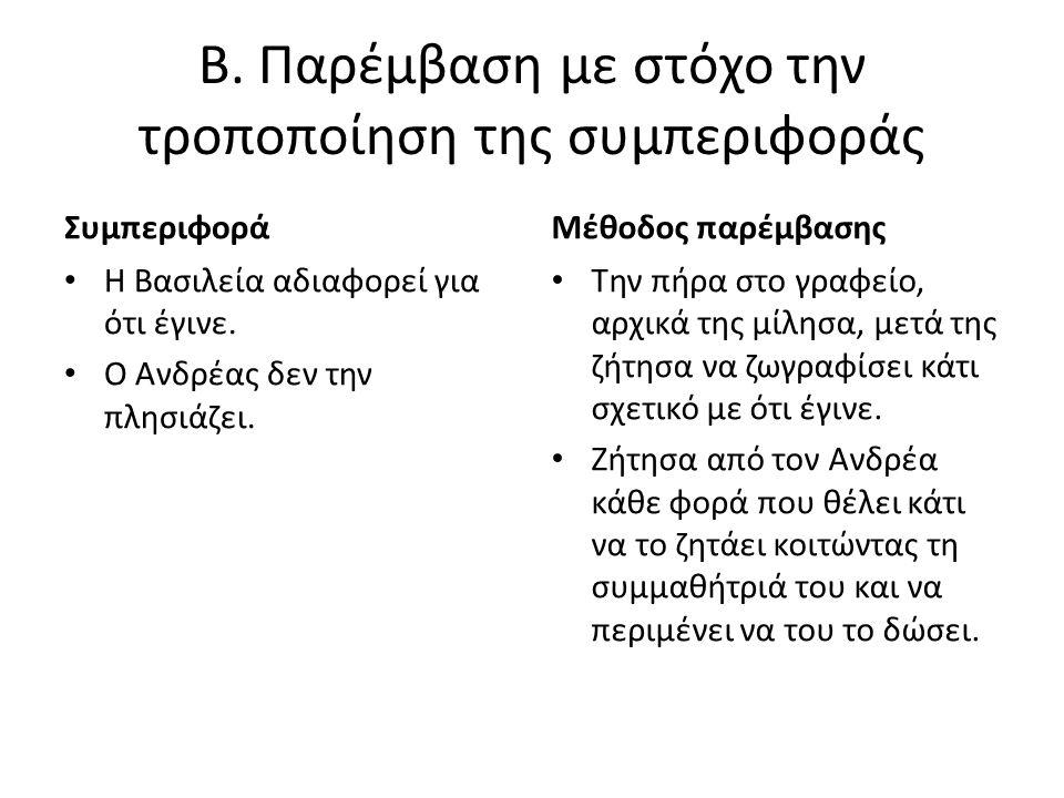 Β. Παρέμβαση με στόχο την τροποποίηση της συμπεριφοράς