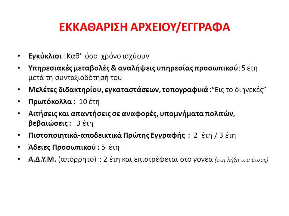 ΕΚΚΑΘΑΡΙΣΗ ΑΡΧΕΙΟΥ/ΕΓΓΡΑΦΑ