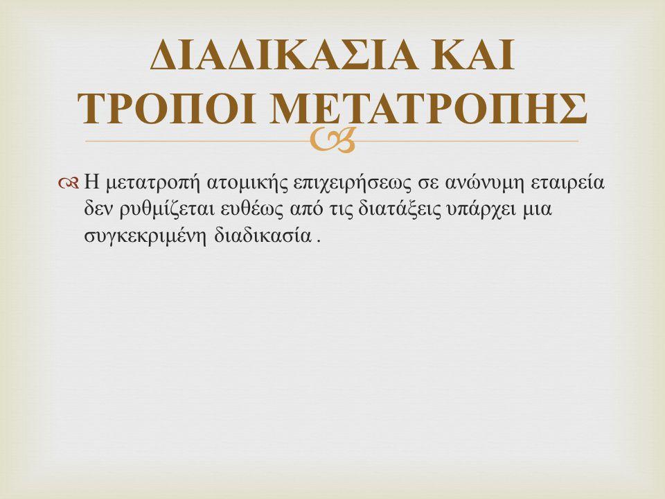 ΔΙΑΔΙΚΑΣΙΑ ΚΑΙ ΤΡΟΠΟΙ ΜΕΤΑΤΡΟΠΗΣ