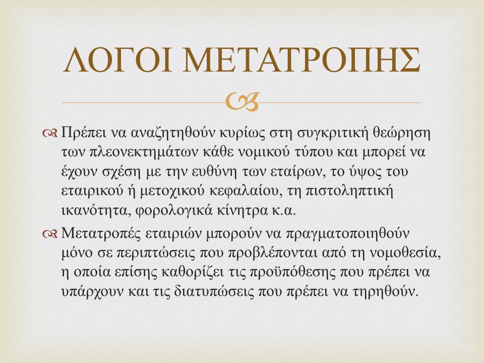 ΛΟΓΟΙ ΜΕΤΑΤΡΟΠΗΣ