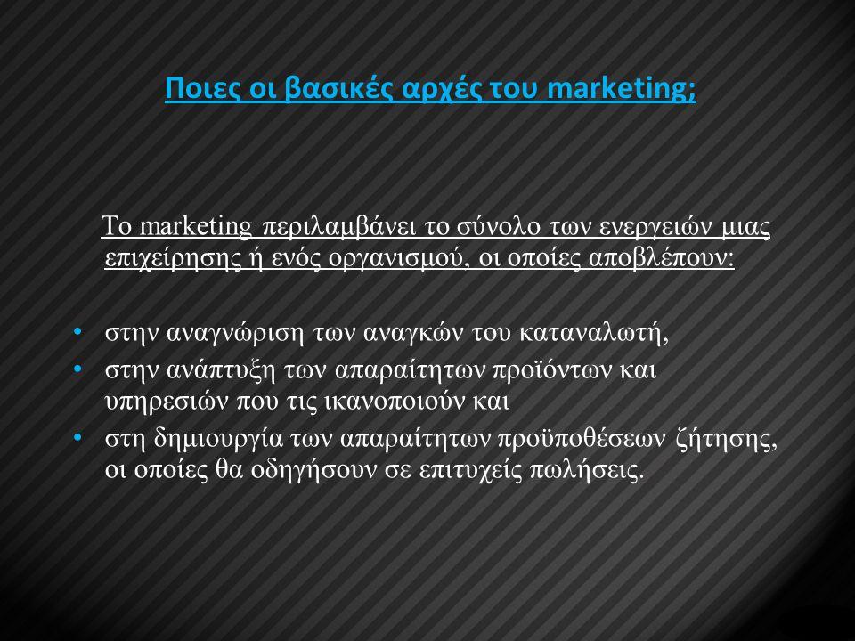 Ποιες οι βασικές αρχές του marketing;