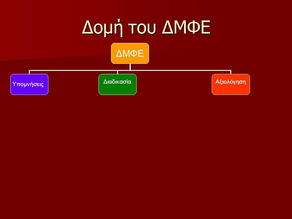 Δομή του ΔΜΦΕ ΔΜΦΕ Υπομνήσεις Διαδικασία Αξιολόγηση