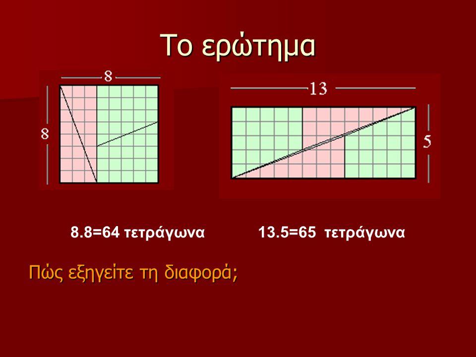 Το ερώτημα Πώς εξηγείτε τη διαφορά; 8.8=64 τετράγωνα 13.5=65 τετράγωνα