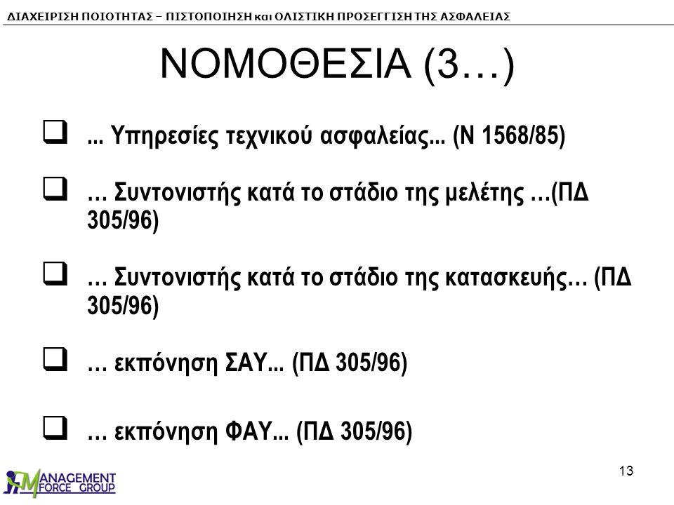 ΝΟΜΟΘΕΣΙΑ (3…) ... Υπηρεσίες τεχνικού ασφαλείας... (N 1568/85)
