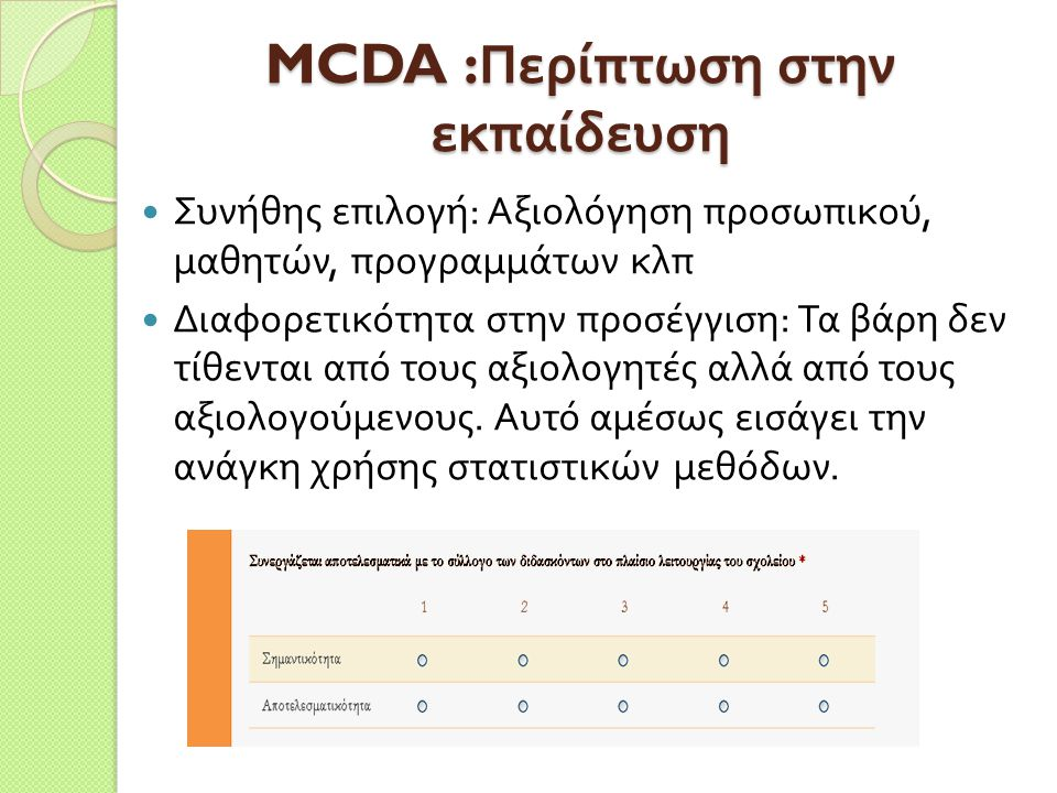 MCDA :Περίπτωση στην εκπαίδευση