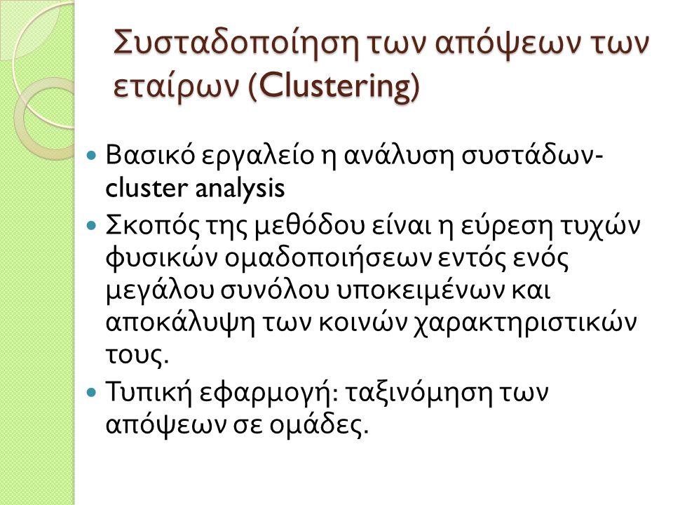 Συσταδοποίηση των απόψεων των εταίρων (Clustering)